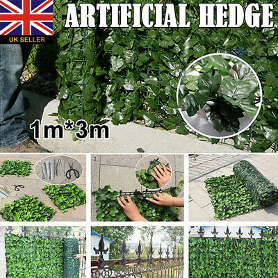 Artificial Hedge Roll Screening lvy Leaf Wall Cover Privacy Garden Fence 1m x 3m