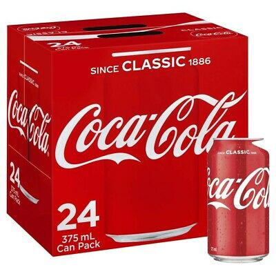 NEW 24-Multi Pack Coca-Cola Classic Coke Canned Soft Drink Refreshment 375mL