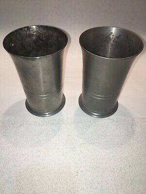 "(2) vintage STEDE Germany Pewter Tumblers Beakers Cups 5"" circa 1920s-40s"