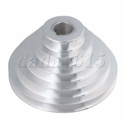 Aluminum 5 Step V Type Pulley Belt 25mm Hole Dia for Motor Shaft Drive Silver
