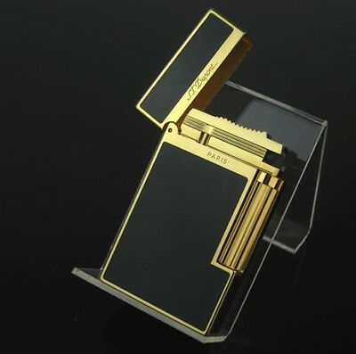 Lighter NEW S.T Memorial lighter Bright Sound! golden Black Laquer Gift Adapter