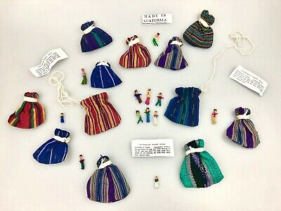 WHOLESALE LOT: Set of 12 Pouches:  6 Mini Worry Dolls in Textile Pouch & Story