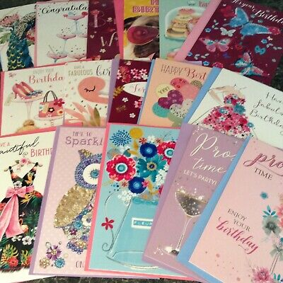 Mixed Pack Of 5 Female Birthday Cards Various Sets And Designs.