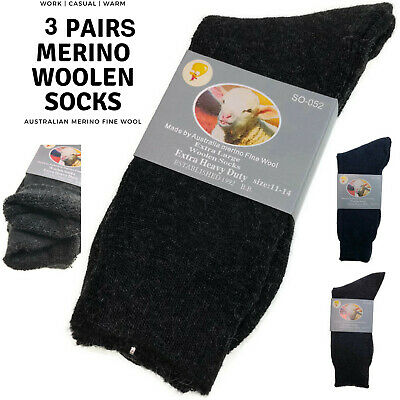 3 Pairs Merino Wool Blend Woolen Work Socks Hiking Heavy Duty Warm Thermal