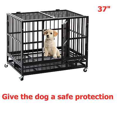 "36"" Heavy Duty Dog Cage Strong Metal Pet Crate Kennel Playpen w/ Wheels&Tray New"
