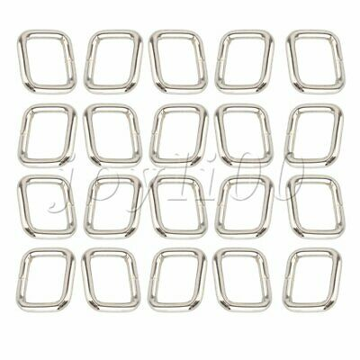 20Pcs Metal Square Ring Webbing Buckle Adjusters for Belts Bags Purse Silver