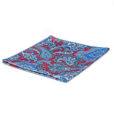 Pocket Square in Gorgeous Big Paisley Blue and Burgundy Design (L)