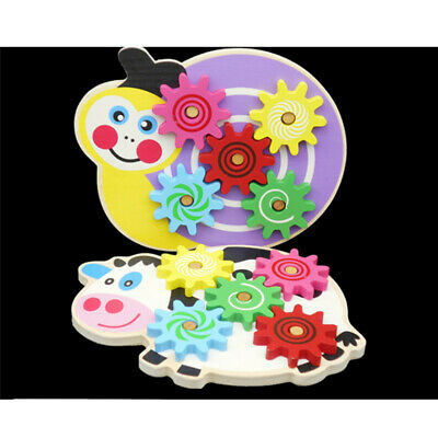 Kids Wooden Animal Spinning Gears Cogs Baby Play Activity Puzzle Wood Toy T