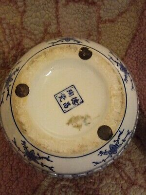 blue and white oriental vase