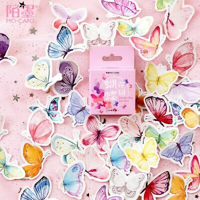 46Pcs/Box Cute Butterfly Stickers Adhesive Sticker Scrapbooking DIY Diary Ablum
