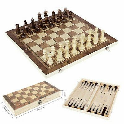 3 in 1 Folding Wooden Chess Set Board Game Checkers Backgammon Draughts Toy Gift