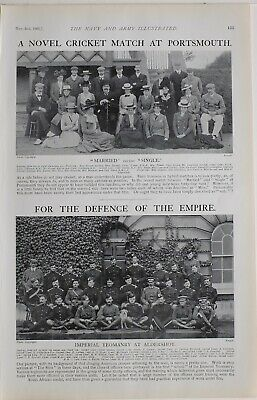 1901 Print Cricket Match At Portsmouth Imperial Yeomanry At Aldershot Named