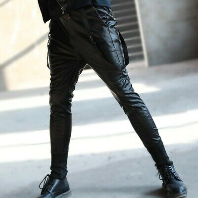 Mens Faux Leather Skinny Spring Motorcycle Stretch Punk Pants Trouser Elastic A3