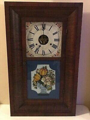 Antique Mid 1800 Seth Thomas Mantle Chime Clock 30 Hour Weighted Plymouth Hollo