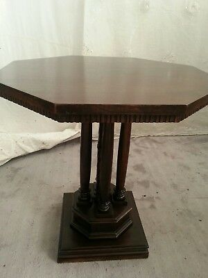TABLE Side Table Occasional Antique Hexagon Shaped Dark Oak Wood Carved Pedestal