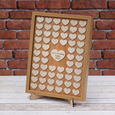 Personalised Wedding Guest Book Frame with Hearts - Drop Box Style