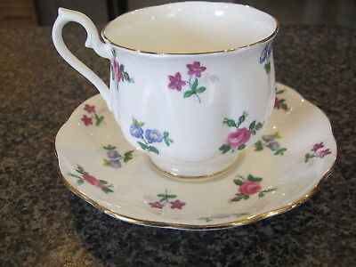ROYAL ALBERT TEACUP CUP SAUCER RARE SMALL FLORAL FLOWERS PATTERN w/ GOLD TRIM c