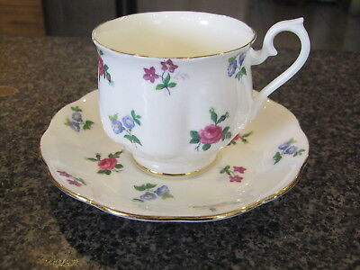 ROYAL ALBERT TEACUP CUP SAUCER RARE SMALL FLORAL FLOWERS PATTERN w/ GOLD TRIM b