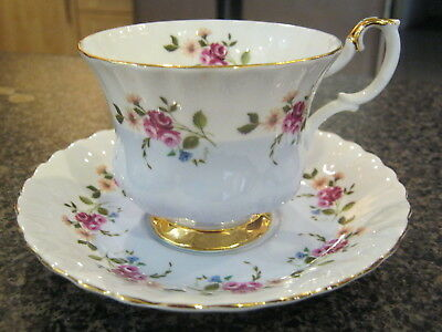 ROYAL ALBERT TEACUP CUP SAUCER INVITATION WHITE BLUE w/ PINK FLOWERS GOLD TRIM