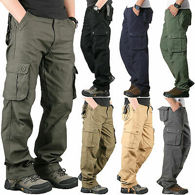 Oversized Men Military Army Combat Trousers Work Cargo Pants Casual Multi Pocket