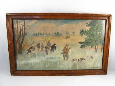 Antique/Vintage Folk Art Watercolor Painting Hunting Scene Signed G.farrell