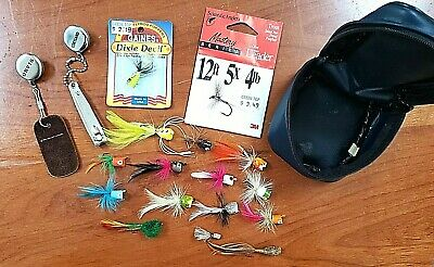 LOT of 15 FISHING FLIES, 12FT LEADER, TWO ADDITIONAL TOOLS