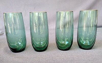 Vintage Libbey Green with Gold Rims 16 oz. Drink/Water/Juice Glasses - Set of 4
