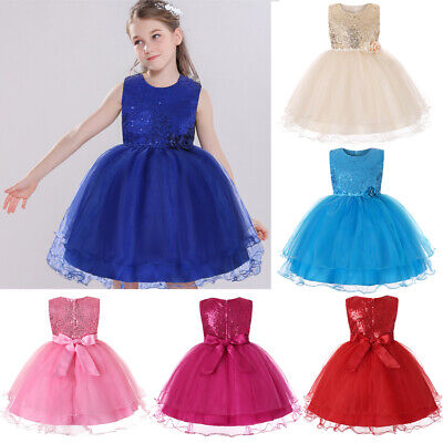 Flower Girl Kids Tutu Dress Sequins Princess Tulle Gown Wedding Bridesmaid Party