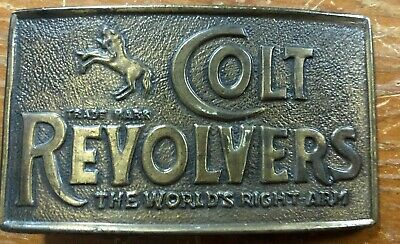 "Colt Revolvers Brass Old Vintage Bronze Belt Buckle 3.75"" X 2.25"" D20"