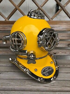 "Reproduction US Navy Divers Helmet 18""s Marine Deep Sea Maritime Yellow"
