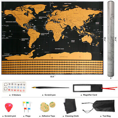"""Scratch Off World Map Poster w/ Countries Flags & Capitals 32.5"""" x 23.4"""""""