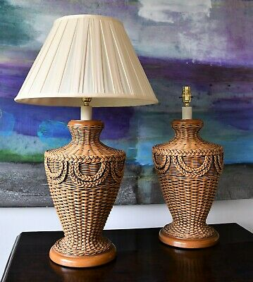 A Pair Vintage Rattan Wicker Urn Soane Britain Style Hall Bed Side Table Lamps