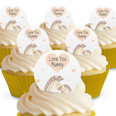 12 x Love You Mummy Zebras Mothers Day Birthday Cake Toppers Edible Pre-Cut