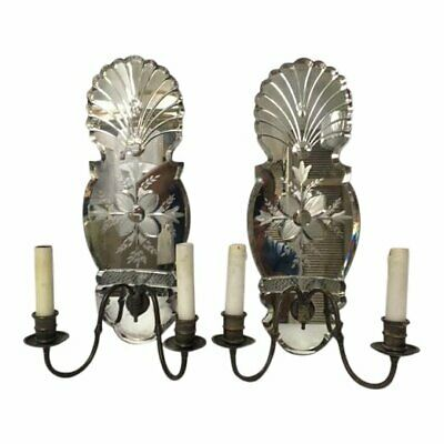 Vintage etched beveled mirrored sconces, pair
