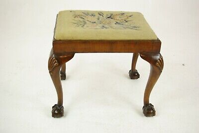 Antique Foot Stool, Walnut Footstool, Antique Furniture, Scotland 1920, B1464
