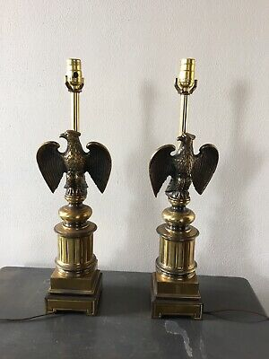 Vintage Pair of Brass American Eagle Patriotic Table Lamps Mid Century With Harp
