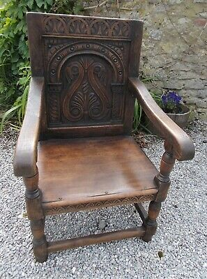 Antique Dark Carved Oak Wainscot Carver Open Arm Chair French