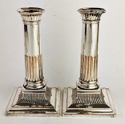 GEORGE III Pair OLD SHEFFIELD PLATE CANDLESTICKS c1780
