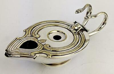 VICTORIAN ANCIENT EGYPTIAN REVIVAL SILVER PLATED OIL LAMP c1870