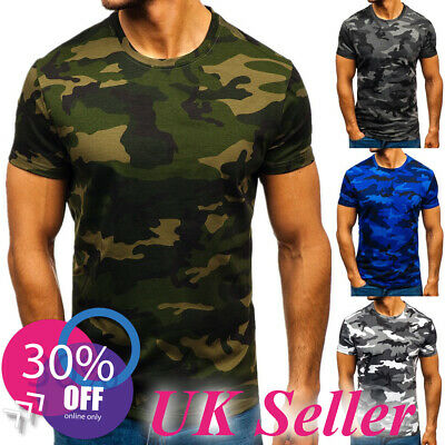 Mens Camo T Shirt Military Camouflage Short Sleeve Tops Army Green Combat Tee UK