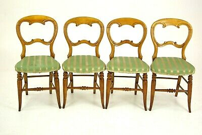 Antique Dining Chairs, 4 Balloon Back Chairs, Upholstered, Victorian, B1339