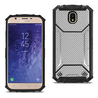 Reiko SAMSUNG GALAXY J3 (2018) Carbon Fiber Hard-shell Case In Gray