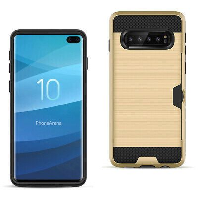 SAMSUNG GALAXY S10 Plus Slim Armor Hybrid Case With Card Holder In Gold