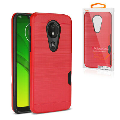 Reiko MOTOROLA MOTO G7 PLAY Slim Armor Hybrid Case With Card Holder In Black