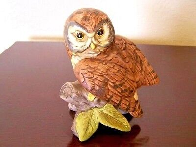 Vtg Uctci Japan Ceramic Owl On Branch - Life Like Detail - Collectible - Unique