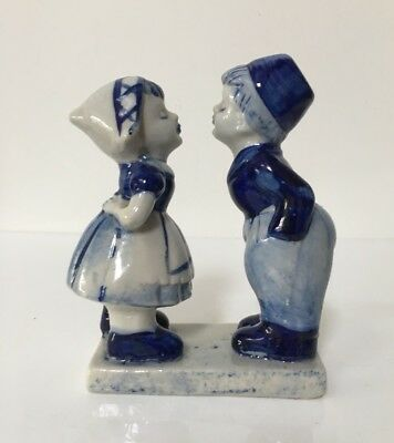 Old Vintage Dutch Kissing Couple - Hand Painted Delft Blue Ceramic