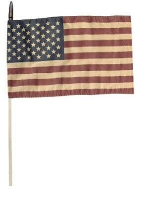 AMERICAN FLAG on a stick Primitive Patriotic AMERICANA fabric country YARD FLAG