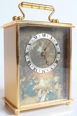 CARRIAGE CLOCK by IMHOF of SWIZERLAND 15 JEWELS working GILT BRONZE picture dial