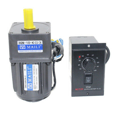 220V 15W AC Gear Electric Motor Variable Speed Controller Reduction Ratio 1:10 !