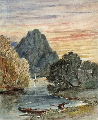 BOATS ON MOUNTAIN RIVER Small Victorian Watercolour Painting 19TH CENTURY